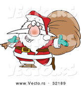 Cartoon Vector of a Happy Santa Carrying a Sack Full of Gifts by Toonaday