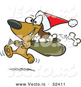Cartoon Vector of a Happy Santa Dog Running with Bag of Bones by Ron Leishman