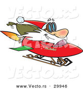 Cartoon Vector of a Happy Santa Driving a Rocket Sled with Bag of Presents by Toonaday