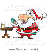 Cartoon Vector of a Happy Santa Eating Cookies with Milk by Toonaday