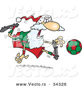 Cartoon Vector of a Happy Santa Playing Soccer by Toonaday