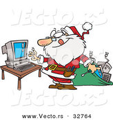 Cartoon Vector of a Happy Santa Repairing a Computer by Toonaday