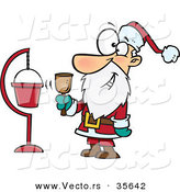 Cartoon Vector of a Happy Santa Ringing Bell Beside Donation Collection Container by Toonaday