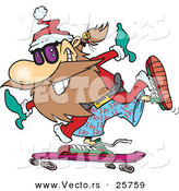 Cartoon Vector of a Happy Santa Skateboarding by Toonaday