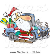 Cartoon Vector of a Happy Santa Standing Beside His Delivery Truck Full of Presents by Toonaday