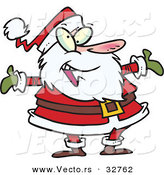 Cartoon Vector of a Happy Santa Welcoming with Arms Wide Open by Toonaday