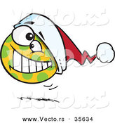 Cartoon Vector of a Happy Spotted Christmas Ball Bouncing with Santa Hat by Toonaday