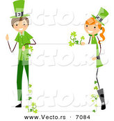 Cartoon Vector of a Happy St. Patrick's Day Boy and Girl Holding up a Blank Sign While Smiling by BNP Design Studio