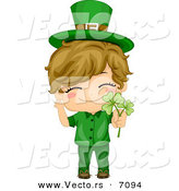 Cartoon Vector of a Happy St. Patrick's Day Boy Holding a Clovers by BNP Design Studio