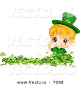 Cartoon Vector of a Happy St. Patrick's Day Boy Waving from a Clover Patch by BNP Design Studio