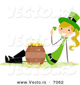 Cartoon Vector of a Happy St. Patrick's Day Girl Beside a Pot of Gold by BNP Design Studio