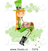 Cartoon Vector of a Happy St. Patrick's Day Girl Dumping Clovers out of a Bucket While Sitting on a Cloud by BNP Design Studio