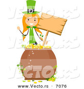 Cartoon Vector of a Happy St. Patrick's Day Girl Holding a Blank Wooden Sign Behind a Pot of Lucky Gold Coins by BNP Design Studio