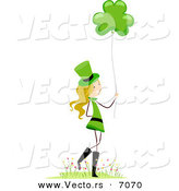Cartoon Vector of a Happy St. Patrick's Day Girl Holding a Clover Balloon by BNP Design Studio