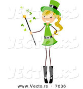 Cartoon Vector of a Happy St. Patrick's Day Girl Holding a Magic Wand by BNP Design Studio