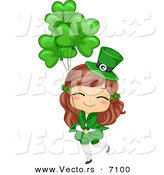 Cartoon Vector of a Happy St. Patrick's Day Girl Holding Clover Balloons by BNP Design Studio