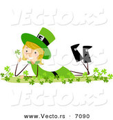 Cartoon Vector of a Happy St. Patrick's Day Girl Laying in Clovers by BNP Design Studio