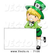 Cartoon Vector of a Happy St. Patrick's Day Girl Leaning on a Blank White Sign by BNP Design Studio