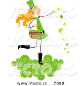 Cartoon Vector of a Happy St. Patrick's Day Girl on a Cloud, Tossing Clovers by BNP Design Studio