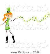 Cartoon Vector of a Happy St. Patrick's Day Girl Releasing Clovers into the Air by BNP Design Studio