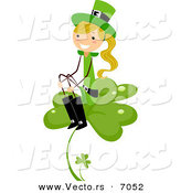 Cartoon Vector of a Happy St. Patrick's Day Girl Sitting on a Big Clover by BNP Design Studio