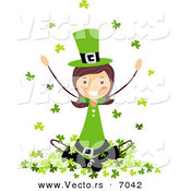 Cartoon Vector of a Happy St. Patrick's Day Girl Sitting on a Hill of Clovers by BNP Design Studio
