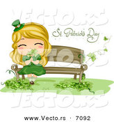 Cartoon Vector of a Happy St. Patrick's Day Girl Smelling Shamrocks While Sitting on a Bench by BNP Design Studio