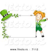 Cartoon Vector of a Happy St. Patrick's Day Girl Standing Beside a Blank Sign with Clovers and a Hat by BNP Design Studio