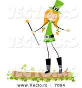 Cartoon Vector of a Happy St. Patrick's Day Girl Standing on a Log with Clovers by BNP Design Studio