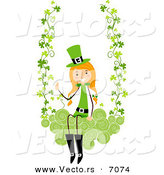 Cartoon Vector of a Happy St. Patrick's Day Girl Swinging on Clovers with Swirls by BNP Design Studio