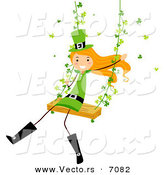 Cartoon Vector of a Happy St. Patrick's Day Girl Swinging with Clovers by BNP Design Studio