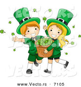 Cartoon Vector of a Happy St. Patrick's Day Leprechaun Boy and Girl Carrying a Basket Full of Clovers by BNP Design Studio