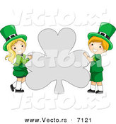 Cartoon Vector of a Happy St. Patrick's Day Leprechaun Boy and Girl Holding a Big Clover Shaped Sign by BNP Design Studio