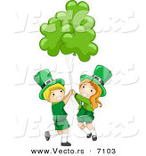 Cartoon Vector of a Happy St. Patrick's Day Leprechaun Boy and Girl Holding Clover Balloons by BNP Design Studio