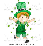 Cartoon Vector of a Happy St. Patrick's Day Leprechaun Boy Running Through Clovers Falling from the Sky by BNP Design Studio