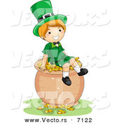 Cartoon Vector of a Happy St. Patrick's Day Leprechaun Boy Sitting on a Big Pot Full of Gold Coins by BNP Design Studio