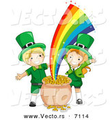 Cartoon Vector of a Happy St. Patrick's Day Leprechaun Girl and Boy Beside a Magical Pot Full of Gold at the End of a Rainbow by BNP Design Studio