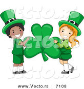 Cartoon Vector of a Happy St. Patrick's Day Leprechaun Girl and Boy Holding a Big Clover by BNP Design Studio
