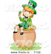 Cartoon Vector of a Happy St. Patrick's Day Leprechaun Girl Holding a Clover While Sitting on a Pot of Gold by BNP Design Studio