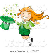 Cartoon Vector of a Happy St. Patrick's Day Leprechaun Girl Jumping with a Magical Clover Hat by BNP Design Studio