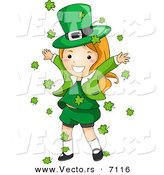 Cartoon Vector of a Happy St. Patrick's Day Leprechaun Girl Playing in Clovers Falling All Around Her from the Sky by BNP Design Studio