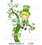 Cartoon Vector of a Happy St. Patrick's Day Leprechaun Girl Sitting on a Large Vine with Clovers by BNP Design Studio