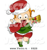 Cartoon Vector of a Happy Toddler Running with a Trumpet on Christmas by BNP Design Studio