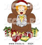 Cartoon Vector of a Happy Toddler Sitting in a Chair Surrounded by Presents on Christmas by BNP Design Studio