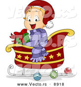 Cartoon Vector of a Happy Toddler Sitting in a Sleigh with a Gift on Christmas by BNP Design Studio