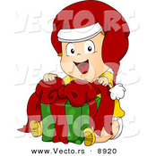 Cartoon Vector of a Happy Toddler Sitting with a Gift on Christmas by BNP Design Studio