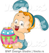 Cartoon Vector of a Happy Toddler with Big Easter Egg by BNP Design Studio
