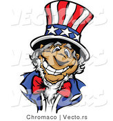 Cartoon Vector of a Happy Uncle Sam Wearing an American Top Hat with a Big Grin by Chromaco