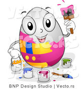 Cartoon Vector of a Happy White Easter Egg Painting Itself by BNP Design Studio