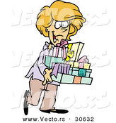 Cartoon Vector of a Happy Woman Carrying Presents by Toonaday